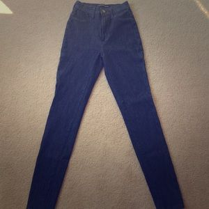 High Waisted Skinny Jeans - Dark